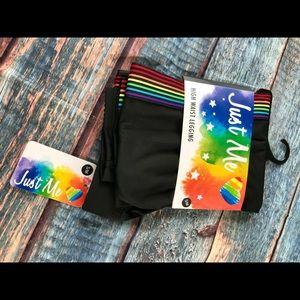 Just Me S/M High Waisted Rainbow Leggings